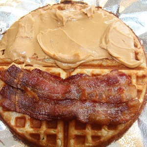 Bacon, peanut-butter waffle from Corbet's Cabin, Jackson Hole Mountain Resort.