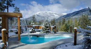 Scandinave Spa Whistler on a beautiful winter morning. Photo Credit: Greg Eymundson / insight-photography.com