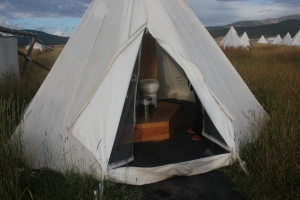The very UNattached bathroom at Yellowstone Under Canvas.